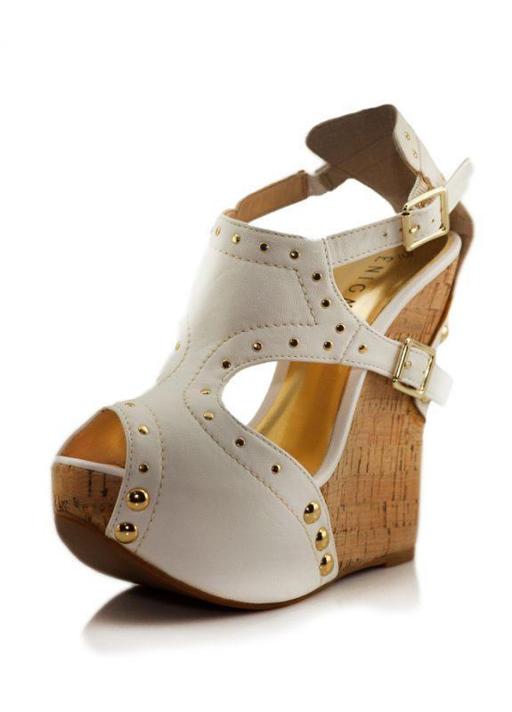 Beyaz Mantar Dolgu Topuk Açık Burun Ayakkabı
