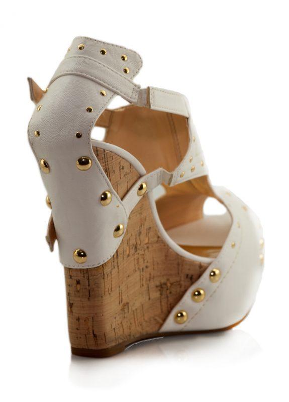 Beyaz Mantar Dolgu Topuk Açık Burun Ayakkabı 3