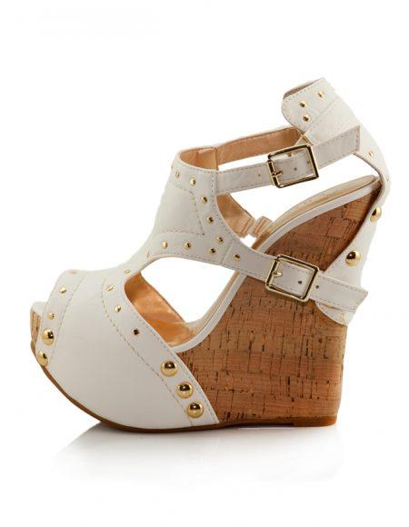 Beyaz Mantar Dolgu Topuk Açık Burun Ayakkabı 2