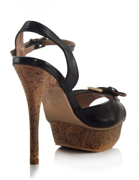 Siyah Tokalı Mantar Platform Topuk Ayakkabı 3