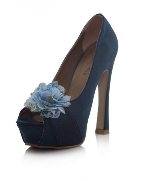 Mavi Açık Burunlu Pump Topuklu Ayakkabı