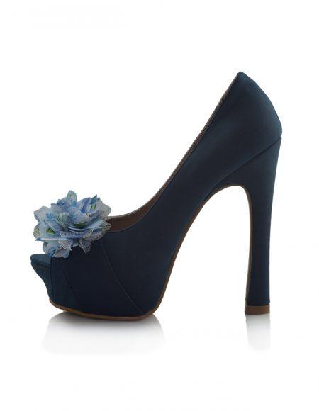 Mavi Açık Burunlu Pump Topuklu Ayakkabı 2
