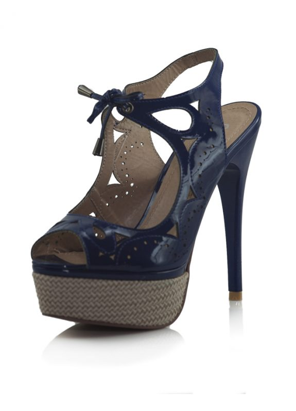 Marjin Bağcıklı Platform Topuklu Lacivert Ayakkabı