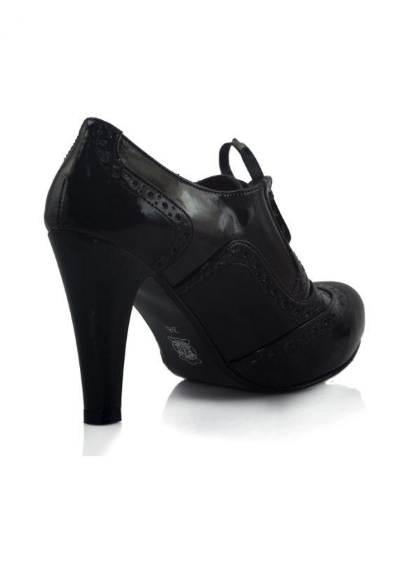 Rugan Bağcıklı Siyah Topuklu Pump Ayakkabı 3