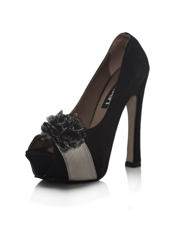 Siyah Açık Burunlu Pump Topuklu Ayakkabı