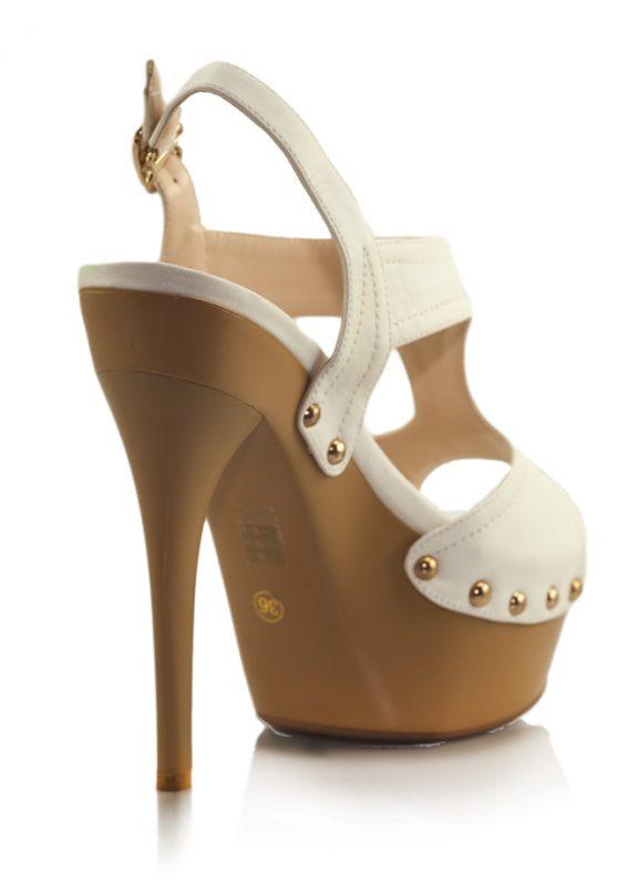 Beyaz Yüksek Platform Topuklu Açık Ayakkabı 3