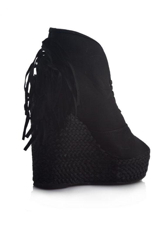 Siyah Dolgu Topuklu Açık Burunlu Ayakkabı 3