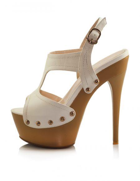 Beyaz Yüksek Platform Topuklu Açık Ayakkabı 2