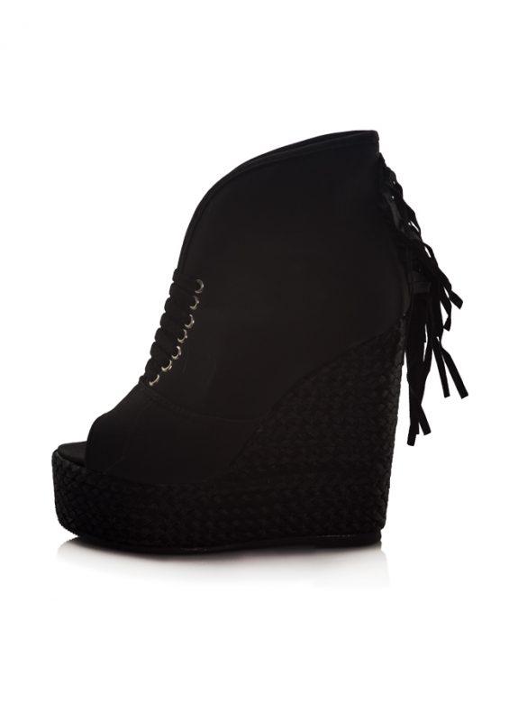 Siyah Dolgu Topuklu Açık Burunlu Ayakkabı 2