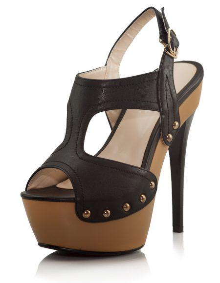 Siyah Yüksek Platform Topuklu Açık Ayakkabı