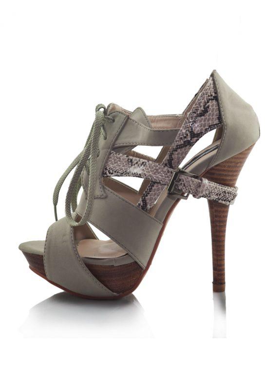 Krem Yılan Derisi Bagcikli Topuklu Sandalet 2