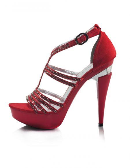 Taşlı Kırmızı Platform Topuklu Açık Ayakkabı 2