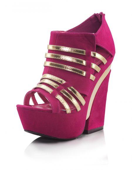 Pembe Dore Dolgu Topuklu Açık Burun Ayakkabı