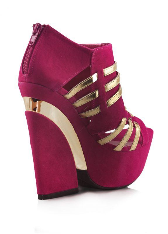 Pembe Dore Dolgu Topuklu Açık Burun Ayakkabı 3