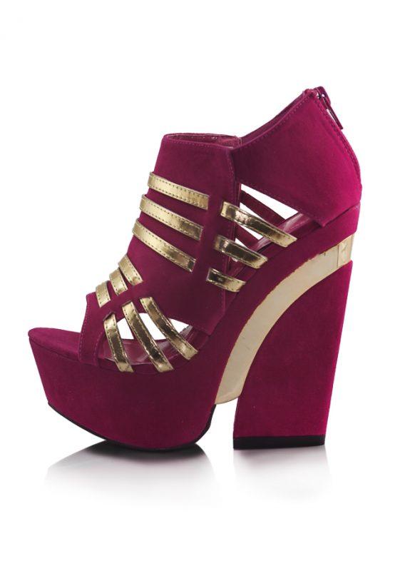 Pembe Dore Dolgu Topuklu Açık Burun Ayakkabı 2