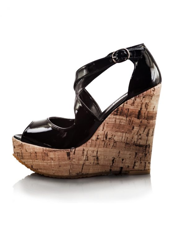 Siyah Mantar Dolgu Topuk Açık Burun Ayakkabı 2