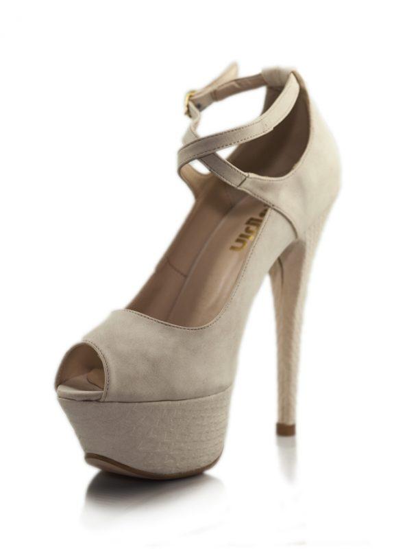 Krem Çapraz Bant Platform Topuklu Ayakkabı