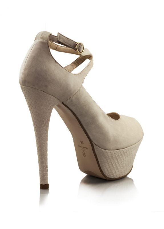 Krem Çapraz Bant Platform Topuklu Ayakkabı 3