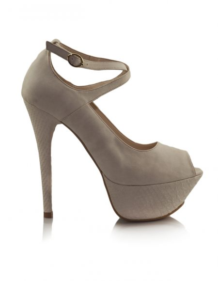 Krem Çapraz Bant Platform Topuklu Ayakkabı 2