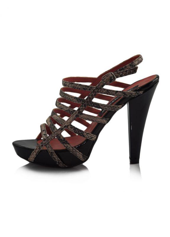 Yılan Derisi Desen Platform Topuk Sandalet 2