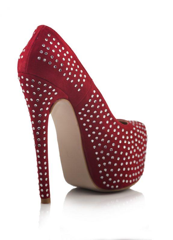 Kırmızı Taşlı Platform Topuk Pump Ayakkabı 3