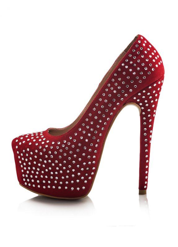 Kırmızı Taşlı Platform Topuk Pump Ayakkabı 2
