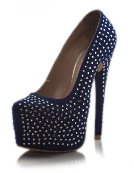 Mavi Taşlı Platform Topuk Pump Ayakkabı
