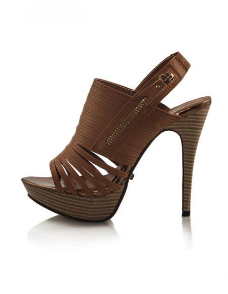 Kahve Ahşap Platform Topuklu Açık Ayakkabı 2