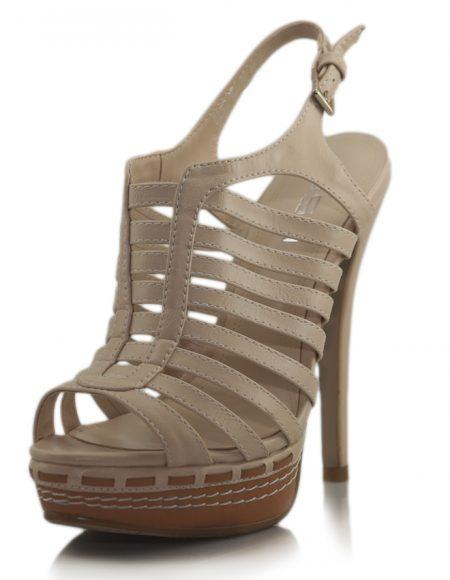 Krem İnce Bantlı Platform Topuklu Sandalet
