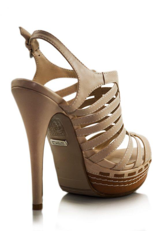 Krem İnce Bantlı Platform Topuklu Sandalet 3
