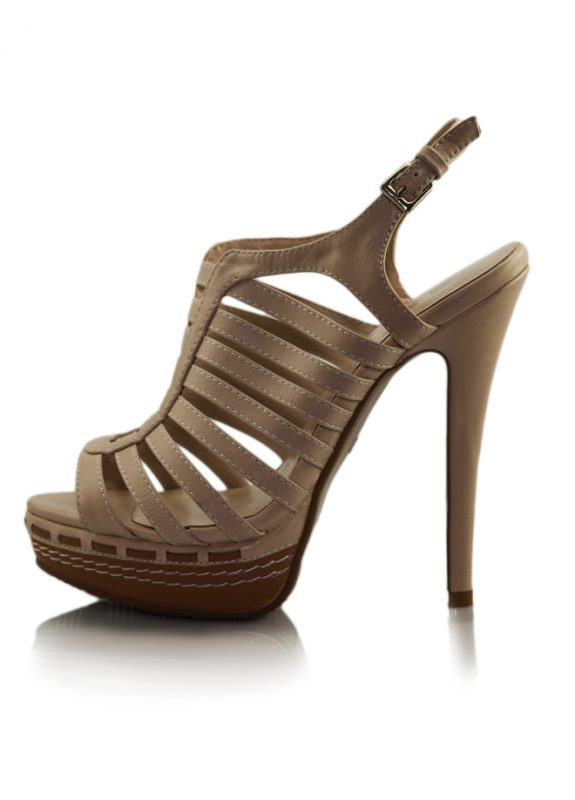 Krem İnce Bantlı Platform Topuklu Sandalet 2