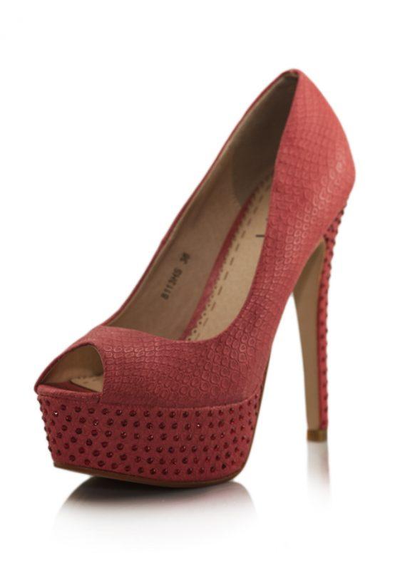 Yılan Kırmızı Platform Topuk Taşlı Ayakkabı