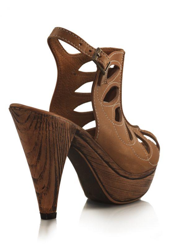Bej Ahşap Desen Platform Topuklu Sandalet 3