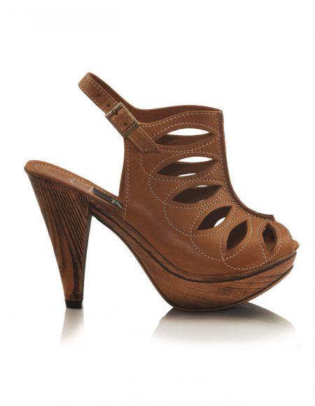 Bej Ahşap Desen Platform Topuklu Sandalet 2