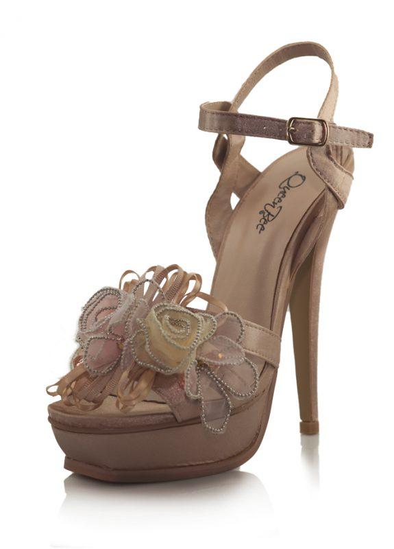 Çiçekli Pembe Saten Platform Topuk Ayakkabı