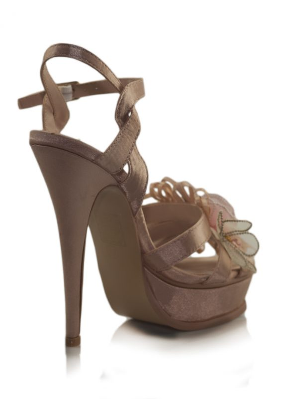 Çiçekli Pembe Saten Platform Topuk Ayakkabı 3