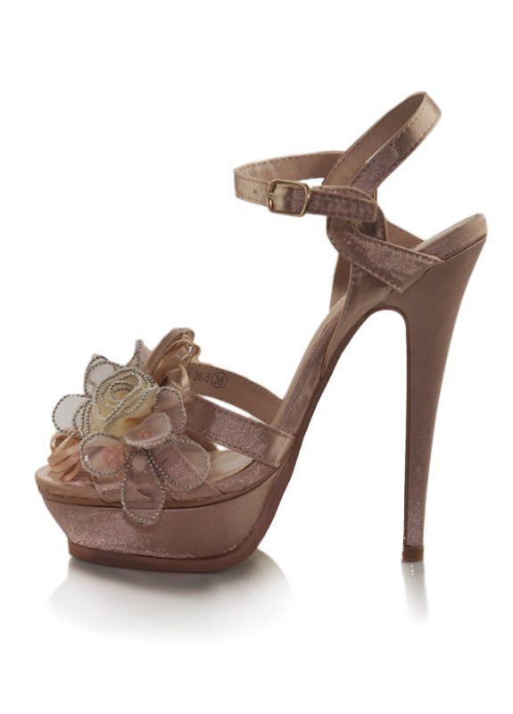Çiçekli Pembe Saten Platform Topuk Ayakkabı 2