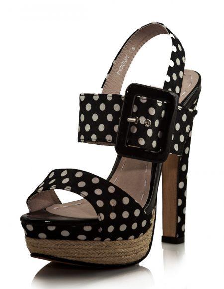 Puantiyeli Siyah Platform Topuklu Sandalet