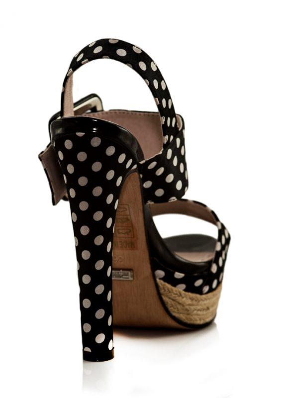 Puantiyeli Siyah Platform Topuklu Sandalet 3