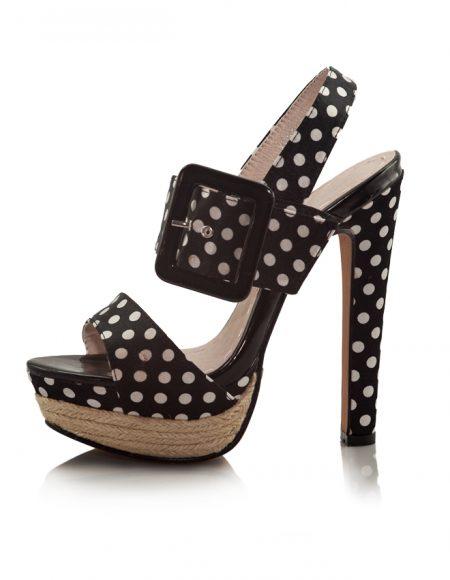 Puantiyeli Siyah Platform Topuklu Sandalet 2