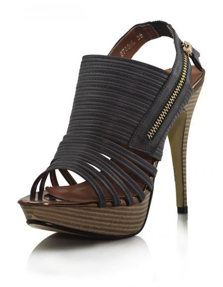 Lacivert Ahşap Platform Topuk Açık Ayakkabı