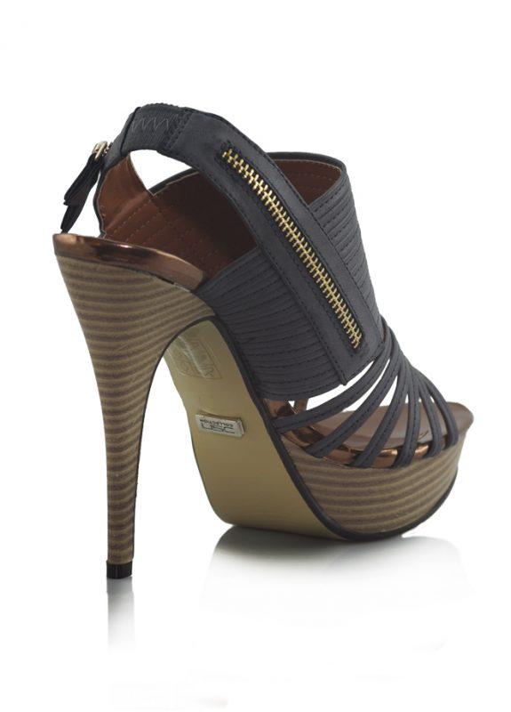 Lacivert Ahşap Platform Topuk Açık Ayakkabı 3