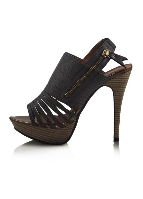 Lacivert Ahşap Platform Topuk Açık Ayakkabı 2