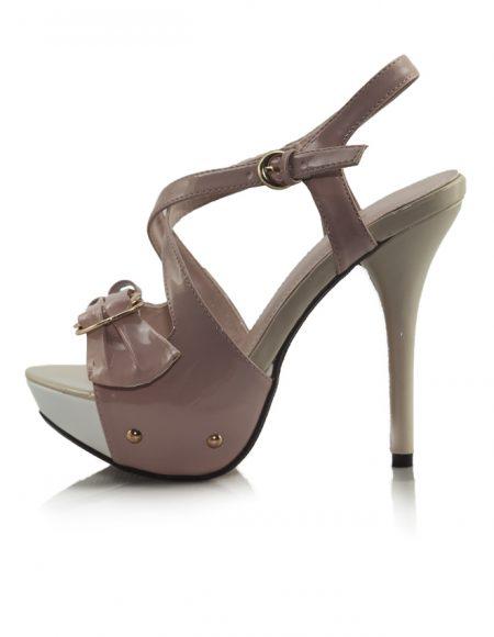 Krem Capraz Bant Platform Topuklu Sandalet 2