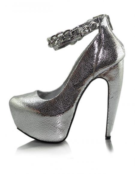 Zincir Bant Lame Platform Topuklu Ayakkabı 2