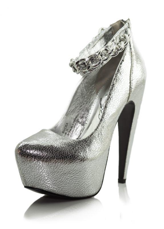 Zincir Bant Lame Platform Topuklu Ayakkabı