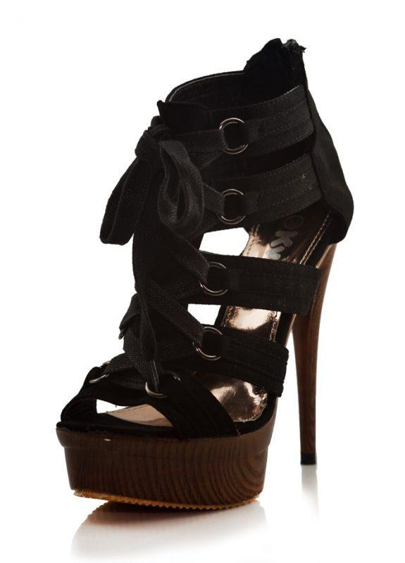 Siyah Bantlı Yüksek Platform Topuk Ayakkabı