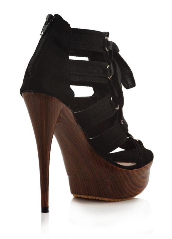Siyah Bantlı Yüksek Platform Topuk Ayakkabı 3