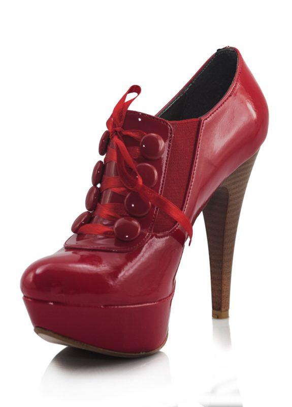 Bağcıklı Rugan Kırmızı Topuklu Pump Ayakkabı