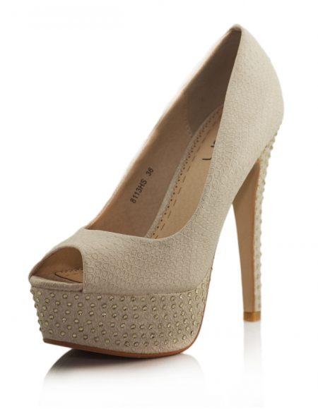 Yılan Krem Platform Topuk Taşlı Ayakkabı